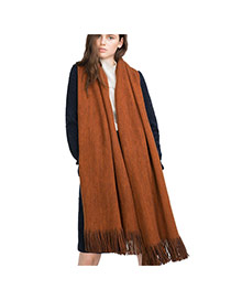 Fashion Coffee Pure Color Decorated Simple Tassel Design Scarf