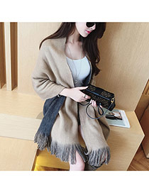 Fashion Light Tan Pure Color Decorated Simple Tassel Design Scarf
