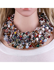 Fashion Multi-color Beads Decorated Multi-layer Handmade Choker