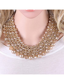 Trendy Coffee Pearls Decorated Multi-layer Handmade Necklace