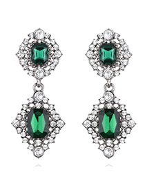 Elegant Green Square Shape Pendant Decorated Simple Earrings