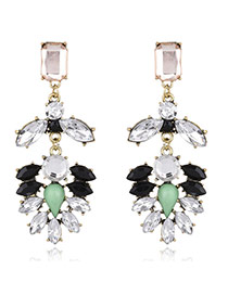 Elegant Milti-color Watershape Diamond Decorated Simple Earrings