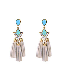 Vintage Blue+white Watershape Dgemstone Decorated Tassel Earrings