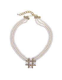 Elegant White Round Shape Decorated Pure Color Multilayer Necklace