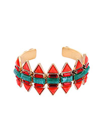 Personality Red Geometric Shape Decorated Simple Opening Bracelet