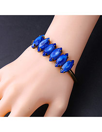 Fashion Gold Color +blue Oval Shape Decorated Simple Opening Bracelet