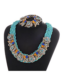 Fashion Multi-color Oval Shape Diamond Decorated Hand-woven Necklace