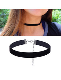 Fashion Black Pure Color Decorated Short Chain Simple Choker