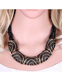 Vinatge Black Color Matching Decorated Mutilayer Simple Necklace
