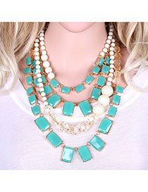 Elegant Blue Square Shape Decorated Mutilayer Short Chain Necklace