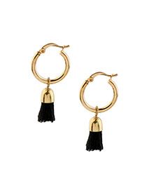 Vintage Black Short Tassel Decorated Simple Round Design Earrings