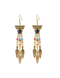 Bohemia Gold Color Metal Shield Pendant Decorated Triangle Shape Earrings