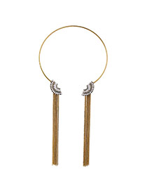 Fashion Gold Color Fan Shape Decorated Metal Tassel Design Opening Necklace