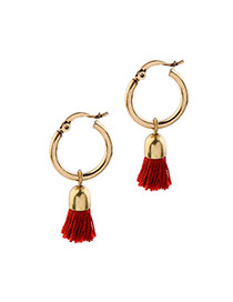 Vintage Red Short Tassel Decorated Simple Round Design Earrings
