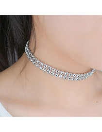 Retro Silver Color Round Shape Decorated Double Layer Simple Choker