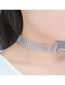 Retro Silver Color Round Shape Decorated Double Multilayer Simple Choker