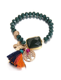 Bohemia Green Butterfly&tassel Decorated Simple Bracelet