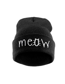 Cute Black Letter Shape Decorated Pure Color Simple Hat