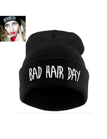 Fashion Black Bad Hair Day Letter Decorated Pure Color Simple Hat