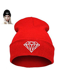 Fashion Red Diamond Shape Pattern Decorated Simple Hat