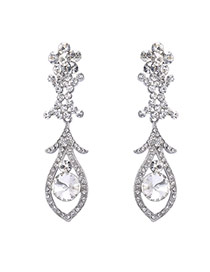 Fashion Silver Color Oval Shape Diamond Decorated Hollow Out Simple Earrings