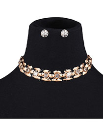 Exaggerated Gold Color Diamond Decorated Gemotric Pure Color Jewelry Sets
