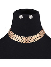 Fashion Gold Color Metal Geometric Shape Decorated Pure Color Jewelry Sets
