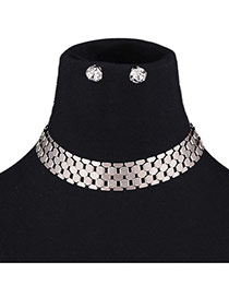 Fashion Silver Color Metal Geometric Shape Decorated Pure Color Jewelry Sets