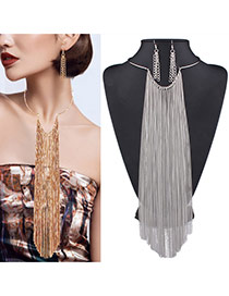 Exaggerated Silver Color Pure Color Chain Decorated Long Tassel Jewelry Sets