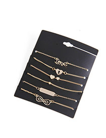 Elegant Gold Color Letter&heart Shape Decorated Simple Bracelet Sets (6pcs)
