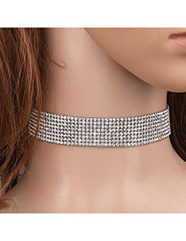 Elegant White Multilayer Diamond Decorated Pure Color Chocker