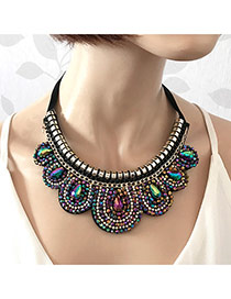 Elegant Multi-color Waterdrop Shape Gemstone Decorated Detachable Collar Necklace