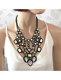 Elegant Multi-color(ab) Geometric Diamond Decorated Hollow Out Tassel Necklace