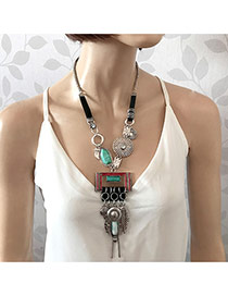 Elegant Anti-silver Geometric Shape Pendant Decorated Long Chain Necklace