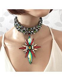 Elegant Multi-color Flower Shape Pendant Decorated Hollow Out Chokcker