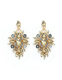 Luxury Champagne Watedrop Diamond Decorated Hollow Out Earring