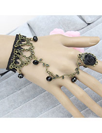 Vintage Black Beads&rose Flower Shape Decorated Leaf Design Ring