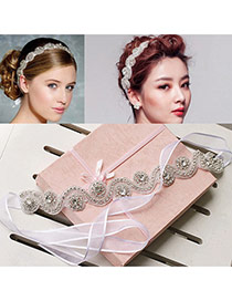 Luxury Pink Diamond Weaving Wave Shape Decorated Simple Hair Band