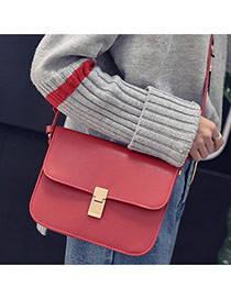 Trendy Red Pure Color Decorated Square Shape Simple Buckle Shoulder Bag Reviews