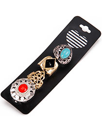 Fashion Multi-color Oval Shape Gemstone Decorated Hollow Out Irregular Shape Ring(4pcs)