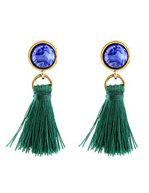 Fashion Green Round Shape Diamond Decorated Tassel Design Simple Earrings