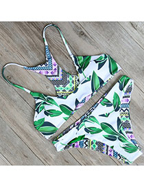 Sexy Green Painting Flower Pattern Decorated Simple Bikini