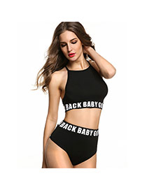 Fashion Black Letter Pattern Decorated Off-the-shoulder Simple Bikini