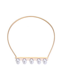 Fashion Gold Color Pearls Decorated Pure Color Simple Choker