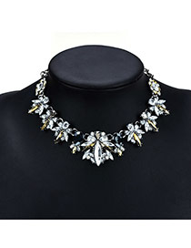 Fashion Silver Color Water Drop Shape Diamond Decorated Simple Short Necklace