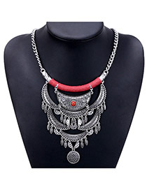 Exaggerated Red Round Shape Pendant Decorated Tassel Design Necklace
