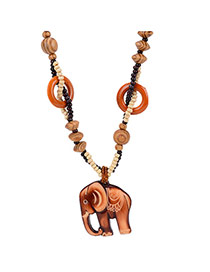 Fashion Brown Elephant Shape Pendant Decorated Double Layer Necklace