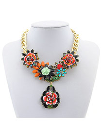 Fashion Black Flower Shape Pendand Decorated Simple Coarse Chian Necklace
