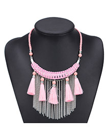 Fashion Pink Long Tassel Pendant Decorated Hand-woven Simple Necklace