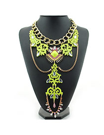 Fashion Yellow Hollow Out Flower Shape Pendant Decorated Multi-layer Necklace